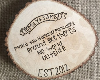 Personalized Tree Trunk Slice- Wedding Gift, Gifts For Her, Gifts For Couples, Rustic Wedding, Personalized Wedding Gift, Anniversary Gift