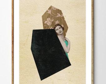 Secrets - Surreal Art Print, Art Deco, Mixed Media Collage, Vintage Women, Geometric Print, Minimalist Art, Home Decor