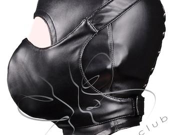 Open face leather hood + Mouth protect mask /  Leather Bondage Mask / Leather mouth gag / GIMP mask / Fetish bdsm mask/ Handmade BDSM masks
