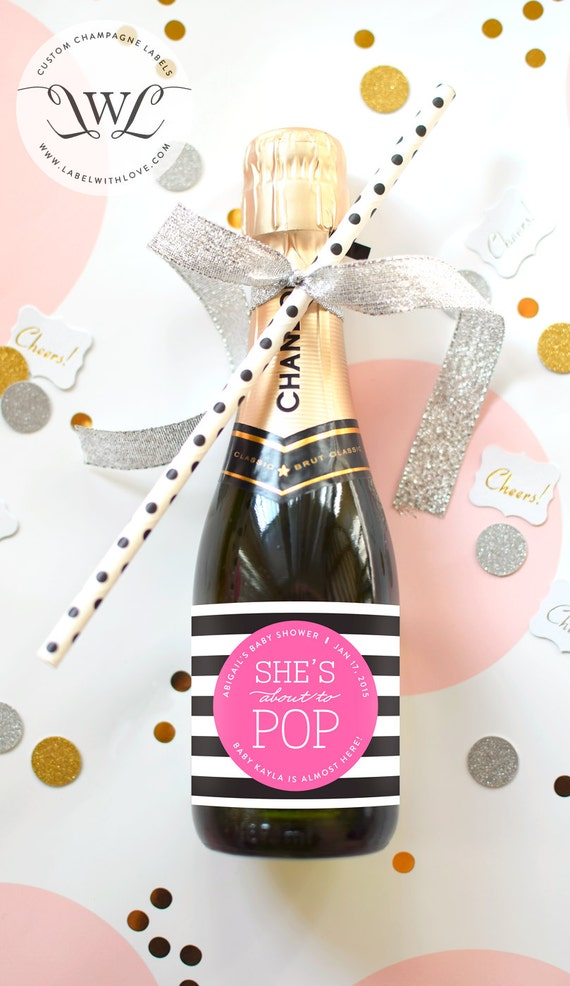 baby shower mini champagne bottle labels about to pop baby sprinkle stripe black pink