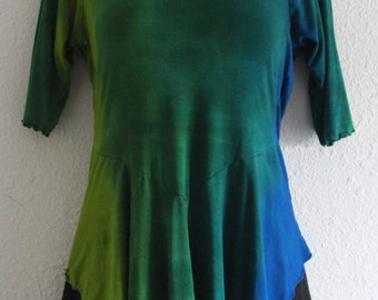 Ombre Y Front Rayon Tunic, hand dyed clothing