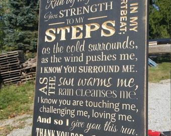 "Custom Carved Wooden Sign - ""Runner's Prayer"""
