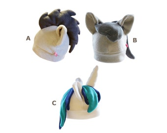 Mlpfim pony fleece hat inspired by Doctor Whooves, Vinyl Scratch and Octavia (for brony and cosplay)