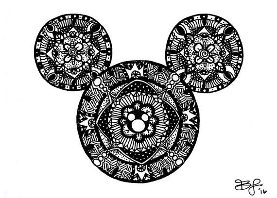 Mickey Mouse Mandala Art Print Zentangle Doodle Walt
