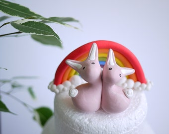 Bunny Wedding Cake Topper (With or Without Rainbow)