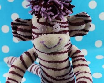 Sock Monkey / Zebra Print / Animal Print Sock Monkey / Purple Lavender Maroon Cream / Nursery Decor / Animal Print Decor / Gifts for Her