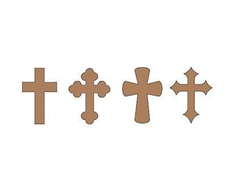 Cross Die Cuts - Set of 20 - Paper Crosses - Crosses - Religious Die Cuts - Kraft Cross