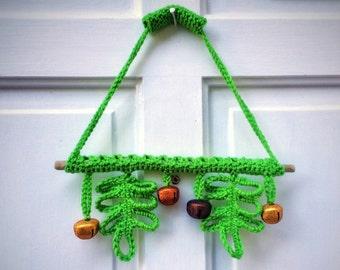 Natural Pine Wreath Crochet Green Oak Unique Handmade Wall Art Eco Friendly Home Decor