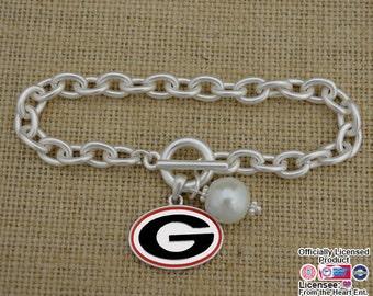 Georgia Bulldogs Logo and Pearl Toggle Bracelet