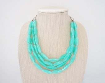 Light Blue Turquoise Beaded Necklace