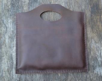 Leather laptop case, simple leather handbag, simple leather tote bag, recycled, simple leather laptop bag, minimalistic leather laptop bag