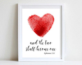 and the Two Shall Become One, Digital Print, Fingerprint Wedding, Thumbprint Heart, Guest Book Sign, Scripture Quote, Instant Download
