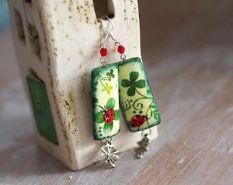 Lucky Earrings, Four Leaf Clover Earrings, Ladybug Dangle Earrings, St Patricks Earrings, Green Shamrock Earrings