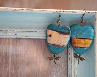 Heart Earrings, Vintage Style Earrings, Rustic Earrings, Wooden Earrings, Dragonfly Jewelry Gift, Blue Wood Earrings, Dragonfly Earrings