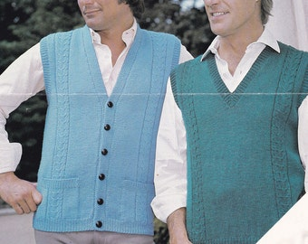 PDF men's waistcoat vest sleeveless cardigan pullover vintage knitting pattern pdf INSTANT download pattern only 1970s