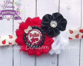 Personalized LadyBug Shabby Headband, Clip, Barrette, Baby, Toddler, Summer Bug Headband, Lady Bug Birthday Bow, Ladybug Infant Headband