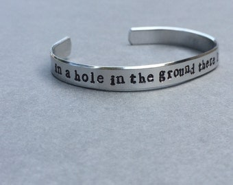 In A Hole In The Ground There Lived A Hobbit /Tolkien / Literary Gift / Literary Bracelet / Book Lover Gift / Bookish Gift / Gift for Her