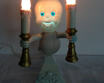 Casper The Friendly Ghost Candleabra, Light Up, Vintage, 1995 Trendmaster, Seasonal Decoration, Retro, Friendly Ghost, Halloween