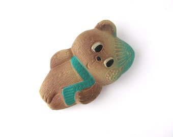 Bear in cap and scarf, Soviet rubber vintage toy, Squeak toy, Cute Old Russian Toy, Doll, Nursery Decor, Made in USSR, 1960s