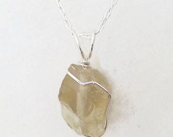 Citrine Necklace, gemstone necklace, sterling silver, Raw crystal necklace, raw gemstone, rough citrine necklace, birthstone necklace