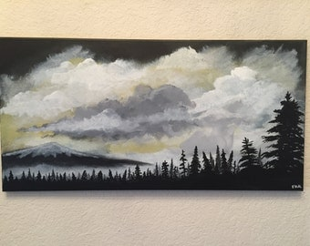 "Mt. Jefferson Original 12"" x 24"" Acrylic Landscape Painting on Stretched Canvas, ready for display. ""After the Storm"""