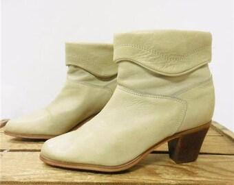 Hanna Vintage Short Cute Beige Leather High Heel Ankle Fashion Boots Women 7.5 M