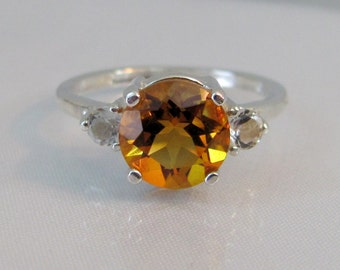 Madeira Citrine Ring in Sterling Silver, 8mm Citrine Gemstone Ring, November Birthstone, Golden Citrine Accent Ring, Madeira Citrine Jewelry