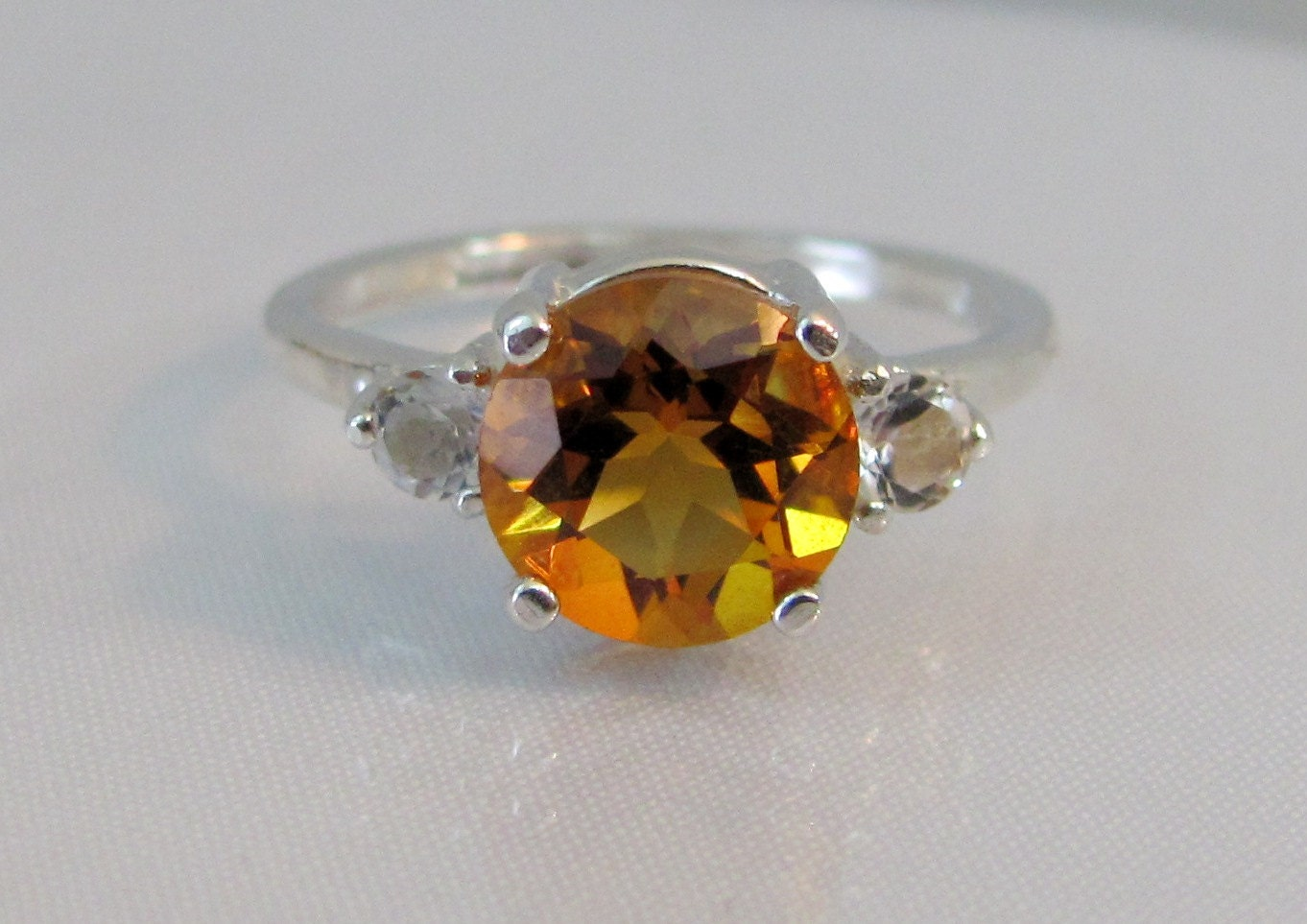 madeira citrine ring in sterling silver 8mm citrine gemstone