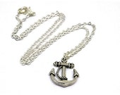Anchor Necklace  Silver Pendant  Alternative Goth Punk Grunge Nautical Jewelry  Pirate