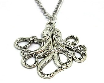 Antique Silver Octopus Pendant Necklace // Alternative // Cthulhu // Kraken // Nautical Jewelry