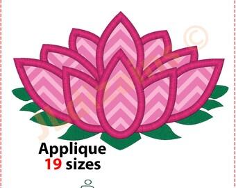 Lotus Flower Applique Design. Lotus flower embroidery. Embroidery design flower. Applique flower design. Machine embroidery design.