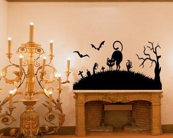 halloween decals etsy - Halloween Window Decals