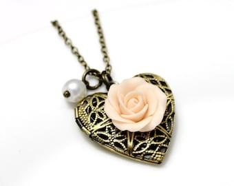 Rose Heart locket necklace, Gold Rose, Locket Wedding Bride, Bridesmaid Necklace, Birthday Gift, Rose Photo Locket, Cristmas Gift