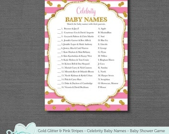 Gold Glitter and Pink Stripes, Baby Shower Game, Celebrity Baby Names, Instant Download, Printable, Girl, Sparkle, Twins, 3G