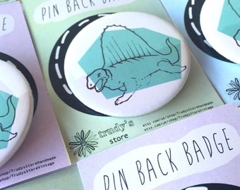 Dinosaur pin back badge, hand stamped badge, dinosaur brooch, button badge, dinosaur jewellery, dinosaur pin, dinosaur pinback badge,