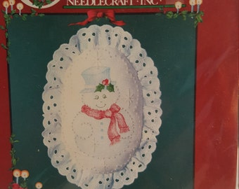 """DIY Snowman Candlewicking Ornament kit/By Cathy Needlecraft INC./ #7090/4""""x4"""" /New & Un-Opened! Made in the USA"""