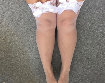 SALE Rosemary Petal White Sheer Thigh High Lace Top Stockings