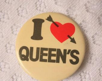 I Love Queen's Pin Back - Queen's University pin- University Pin Back   - Hearty pin back