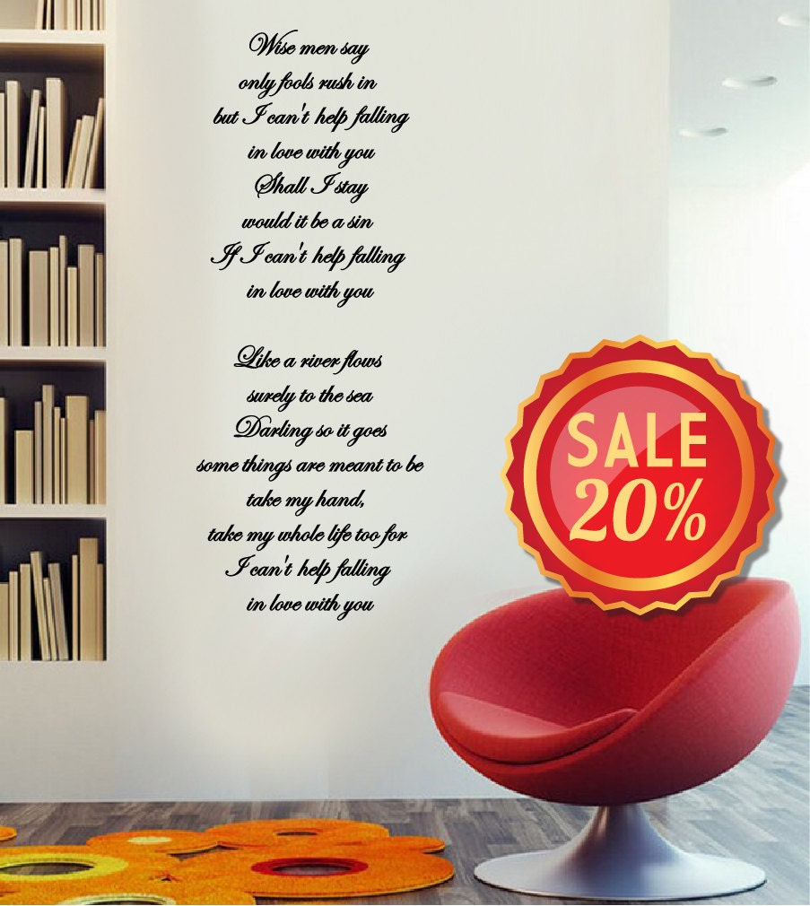 Off SALE Wall Vinyl Decal I Cant Help Falling - Custom vinyl wall decals falling off