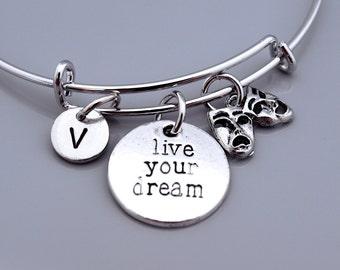 Live your dream, Comedy Tragedy masks bracelet, Theatre charm, Greek drama mask, Theatre masks, Broadway mask, Inspire charm, Inspirational