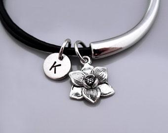 Magnolia flower bracelet, Magnolia flower charm bangle, garden charm, Magnolia flower jewelry, Leather bracelet, Leather bangle