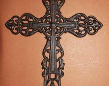 "1) pc, 13"" Very large ornate decorative cast iron cross, free shipping, cast iron cross  wall decor, cross ready to paint, C-34"