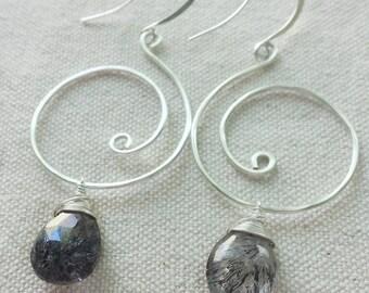Moss Amethyst Earrings, Lepidocrocite, Silver Swirl Earrings, Super Seven Stone