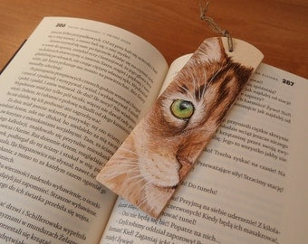 Hand painted wooden bookmark - CAT