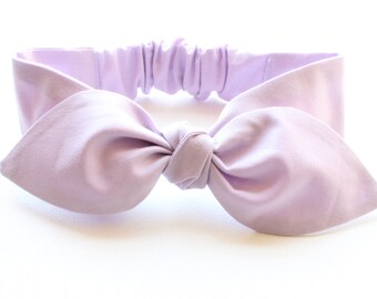Purple headband, baby hairband bow, infant newborn bow headband - lavender lilac pastel solid purple - baby gift