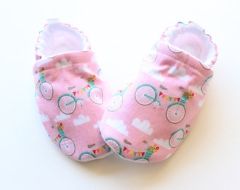 pink bikes baby shoes, Soft Sole Baby Shoes, Fabric Baby Booties
