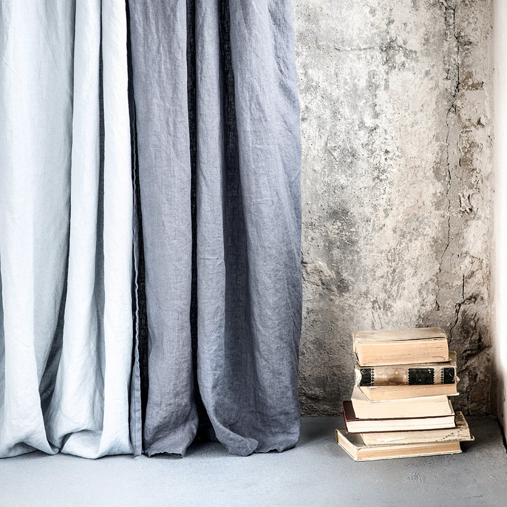 dark grey graphite washed linen curtains linen drapes in. Black Bedroom Furniture Sets. Home Design Ideas