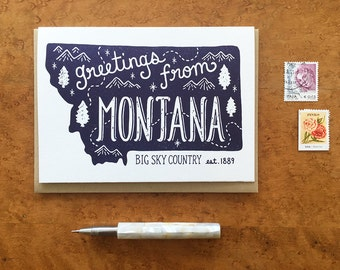 Montana Greeting Card, Greetings from Montana, A6 Folded Note Card, Blank Inside