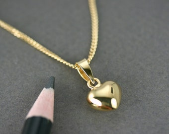 Tiny puffy heart pendant, Gold Plated heart pendant, Gold vermeil heart pendant, Gold heart necklace, Romantic heart, Minimalist heart