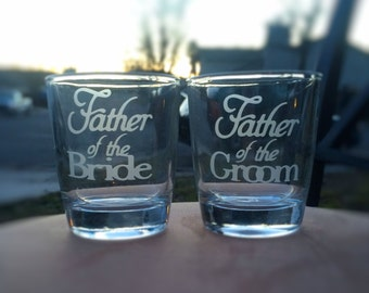 Father of the Bride and Father of the Groom Double Old Fashioned Glass with Wedding Date, Hand Engraved Set of 2